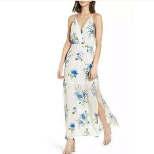 Lush Surplice Maxi Dress White Blue Floral Print